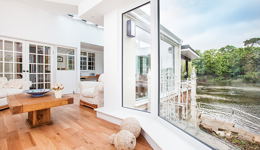 Conservatory outside - wooden floor with a great view by the river